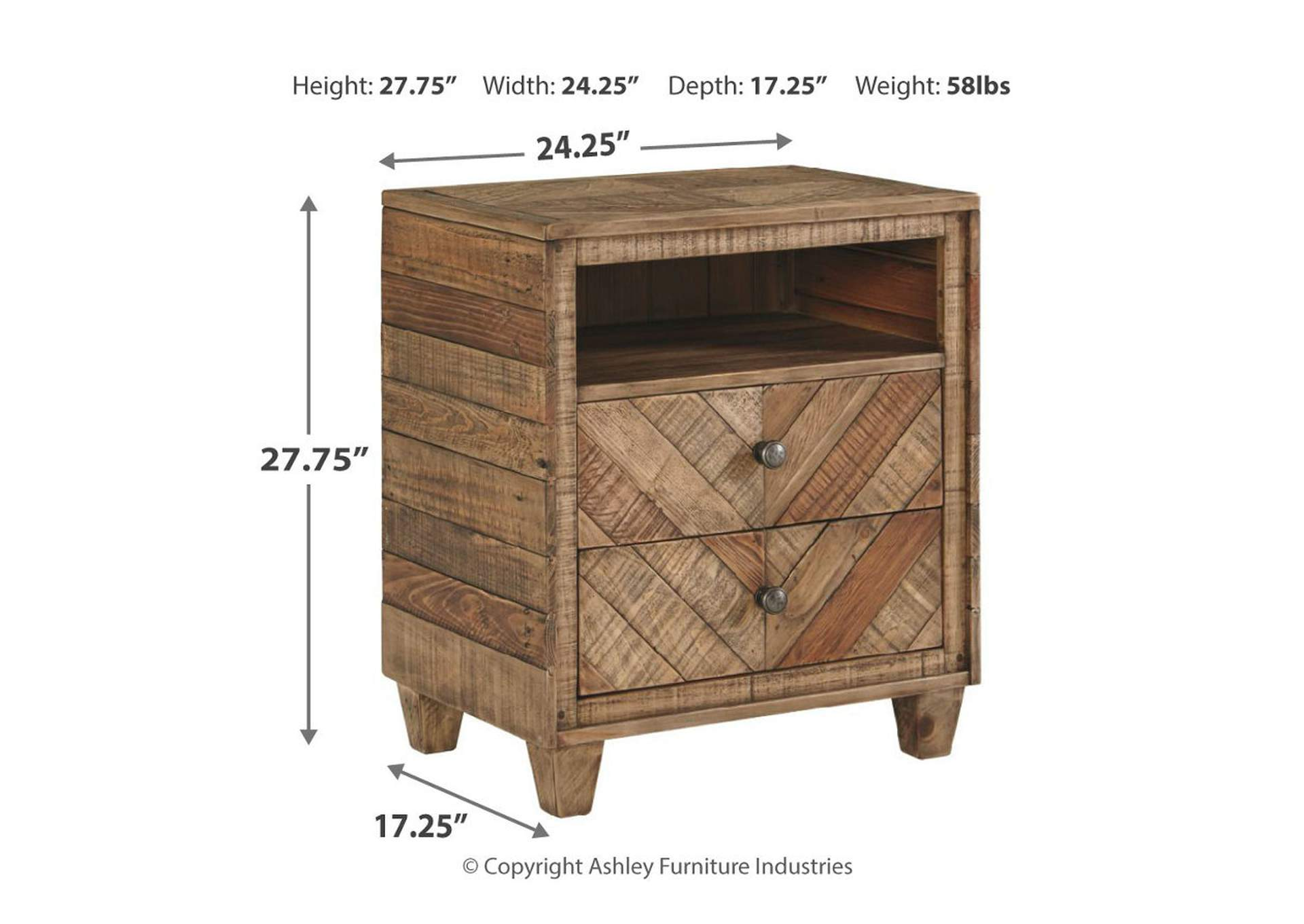 Grindleburg Light Brown Two Drawer Night Stand,Signature Design By Ashley