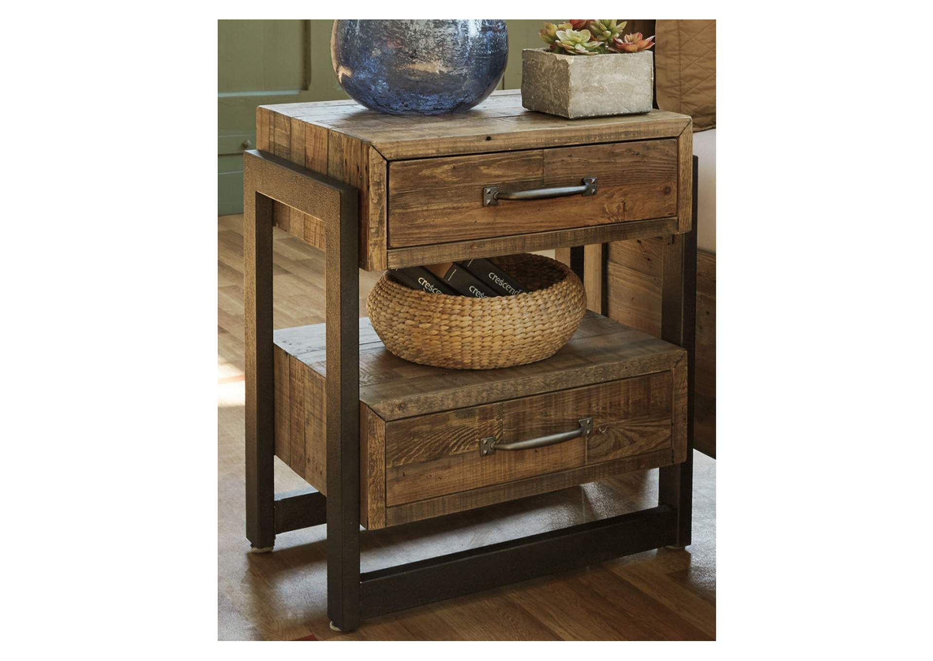 Sommerford Brown Two Drawer Nightstand,48 Hour Quick Ship