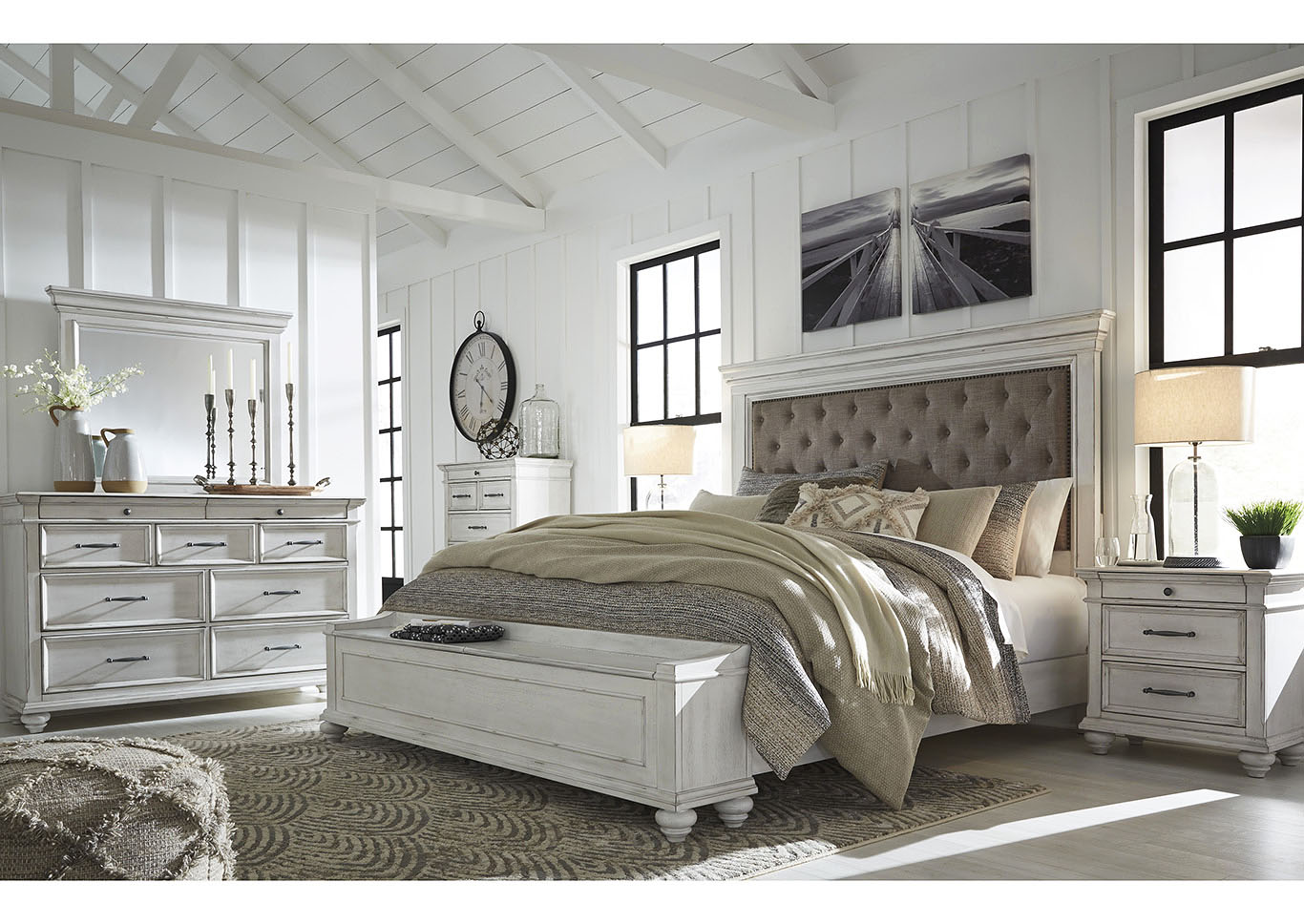 Kanwyn Whitewash California King Upholstered Storage Bed w/Dresser and Mirror,Benchcraft