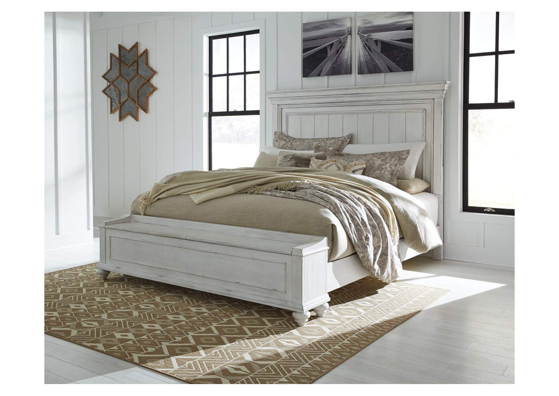 Kanwyn Whitewash King Panel Storage Bed,Benchcraft