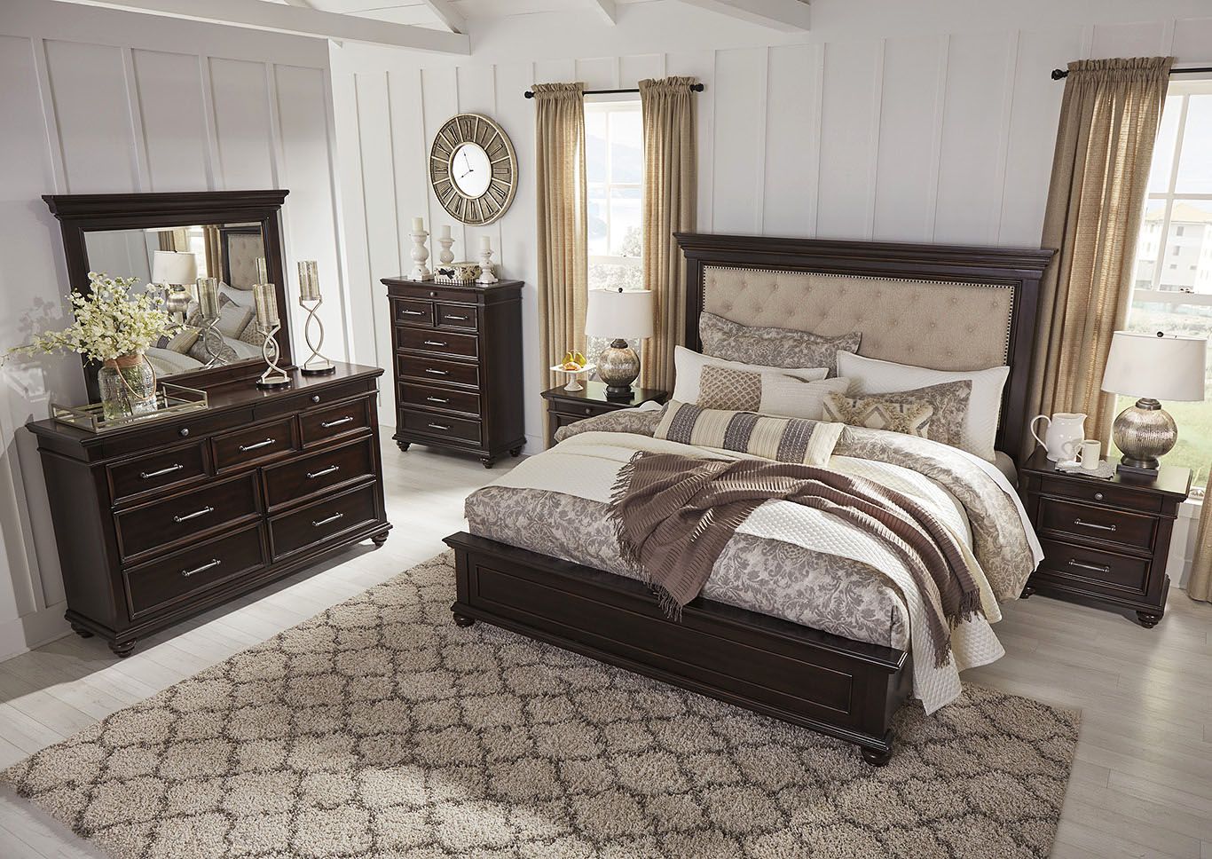 Brynhurst Brown California King Upholstered Panel Bed,Signature Design By Ashley