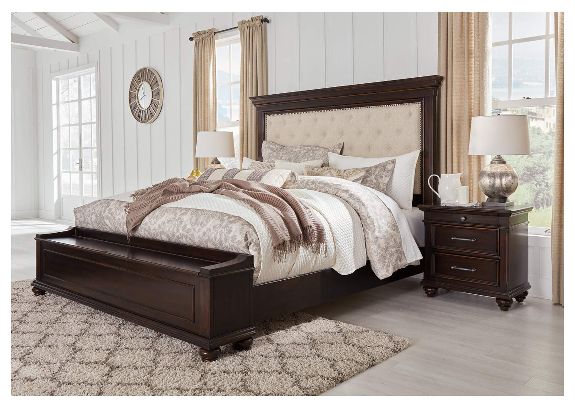Brynhurst Brown Queen Upholstered Storage Bed,Signature Design By Ashley