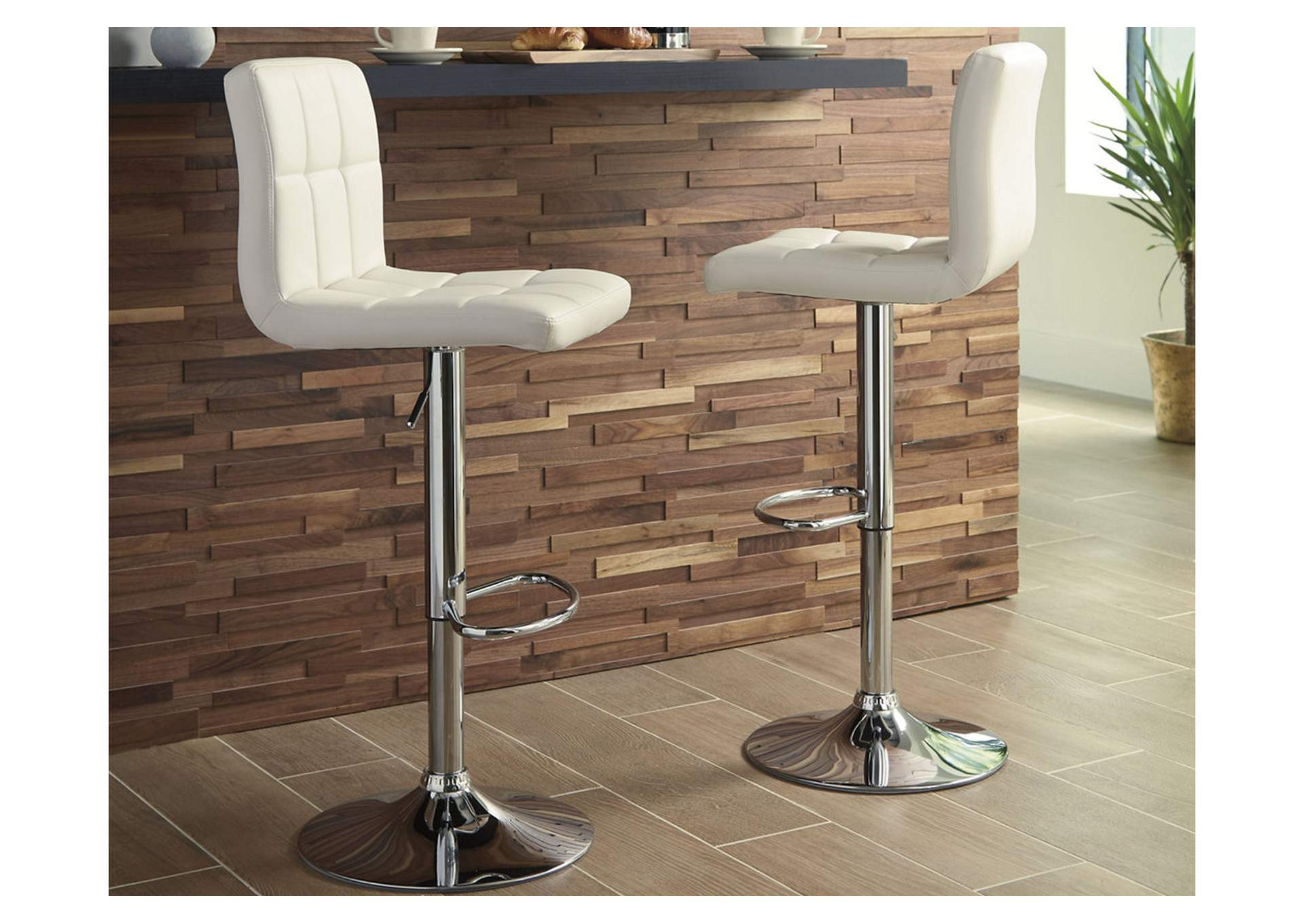 Adjustable Height Barstools Multi Tall Upholstered Swivel Barstool (Set of 2),Signature Design By Ashley