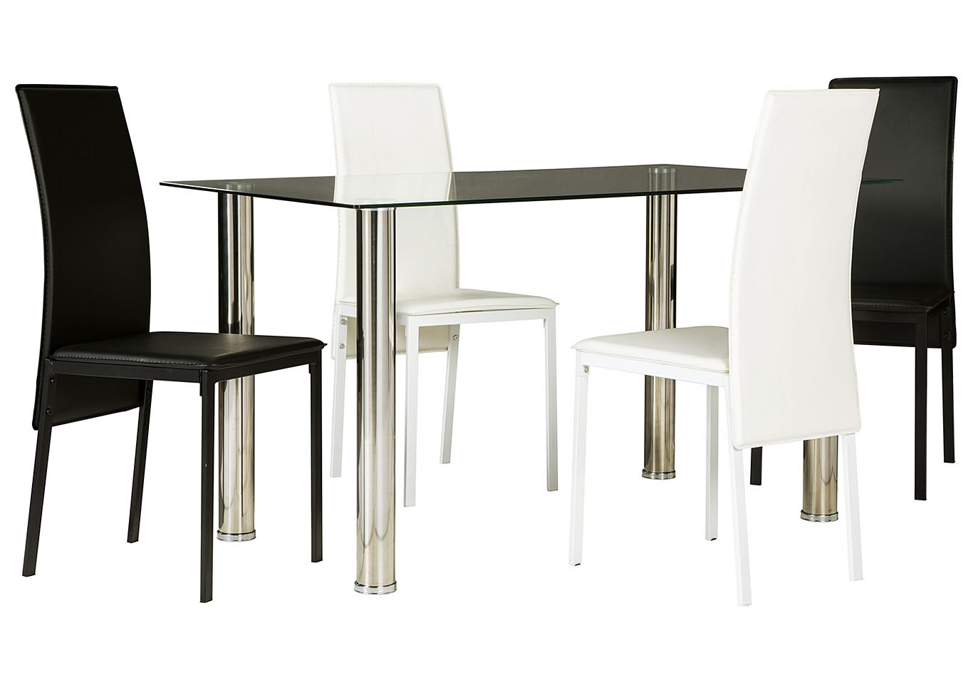 Sariden Chrome Finish Rectangular Table w/2 White & 2 Black Chair,Signature Design By Ashley