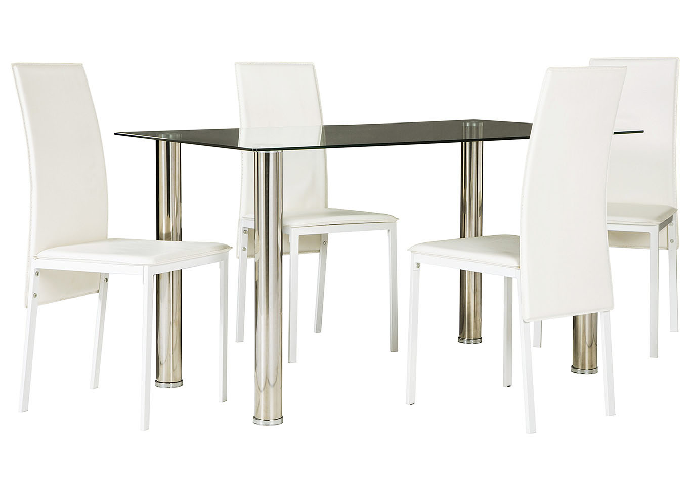 Sariden Chrome Finish Rectangular Table w/4 White Chair,Signature Design By Ashley