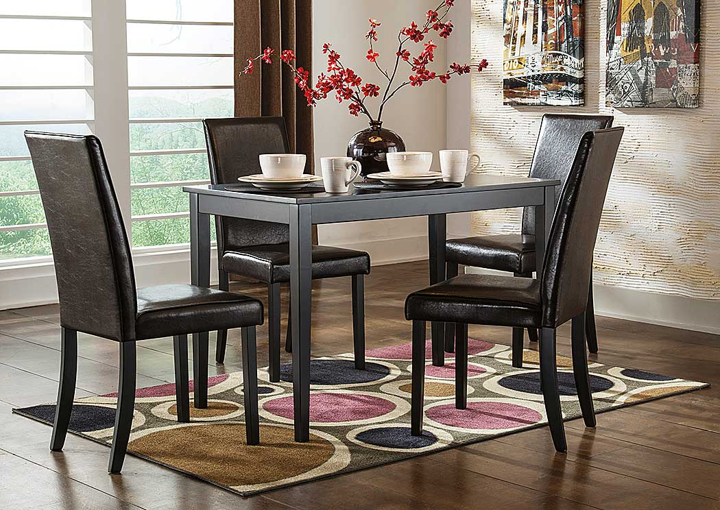 Kimonte Rectangular Dining Table w/4 Dark Brown Chairs,Signature Design By Ashley