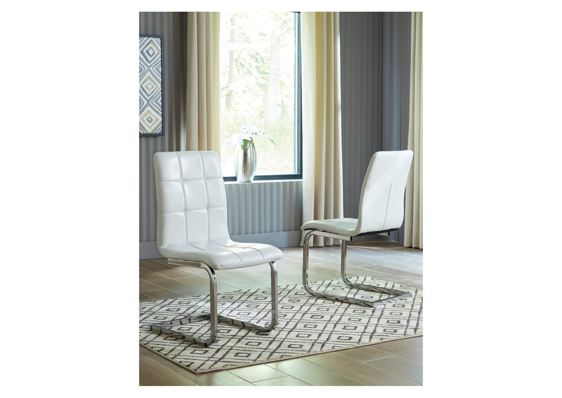 Madanere White/Chrome Finish Dining Chairs (4 Piece),Signature Design By Ashley