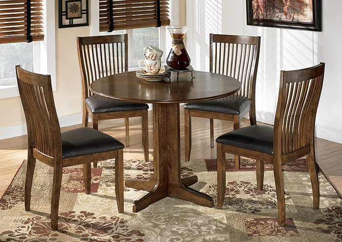 Stuman Round Drop Leaf Table & 4 Side Chairs,Signature Design By Ashley