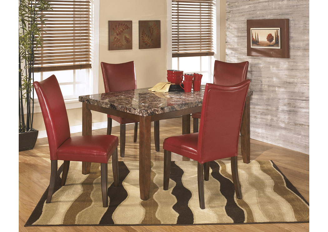 Lacey Rectangular Dining Table w/4 Red Chairs,Signature Design By Ashley