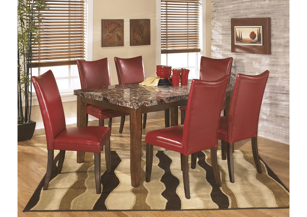 Lacey Rectangular Dining Table w/6 Red Chairs,Signature Design By Ashley