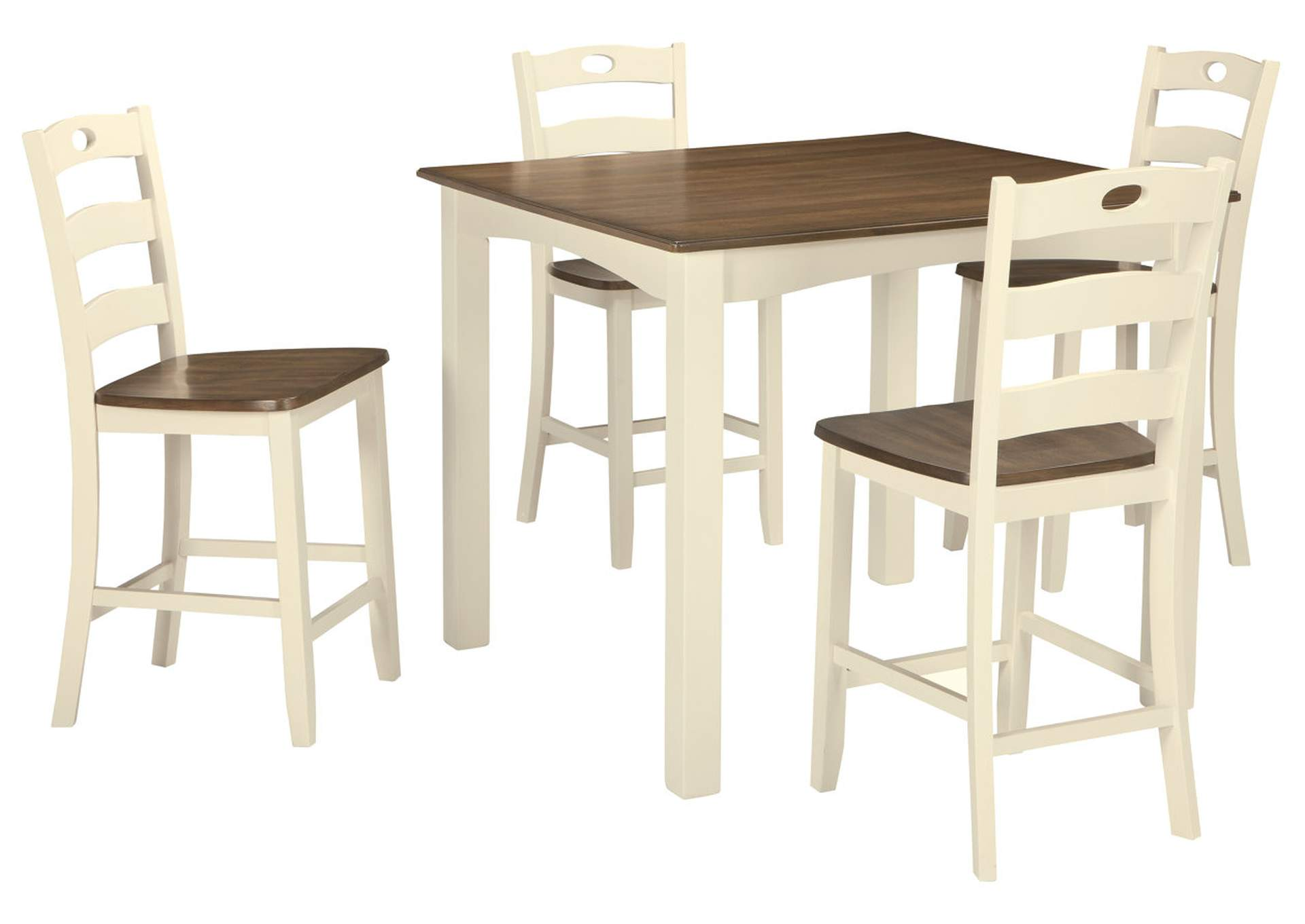 Woodanville White/Brown Square Counter Table Set,Signature Design By Ashley
