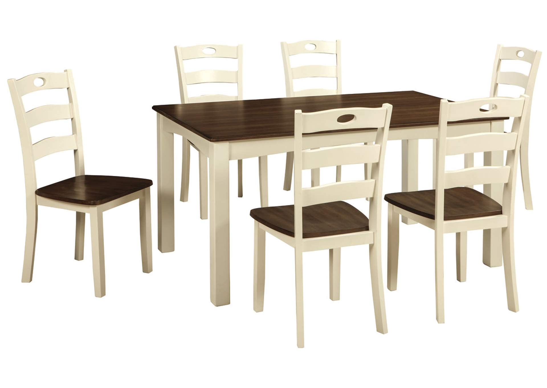Woodanville White/Brown Dining Room Table Set,Signature Design By Ashley