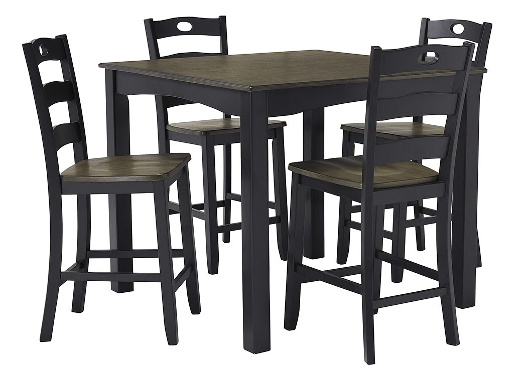 Froshburg Grayish Brown/Black 5 Piece Square Counter Table Set,Signature Design By Ashley