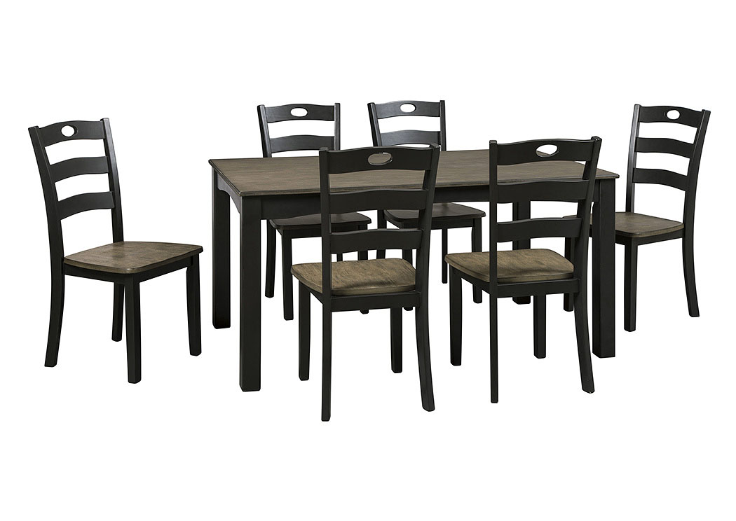 Froshburg Grayish Brown/Black 7 Piece Dining Room Table Set,Signature Design By Ashley