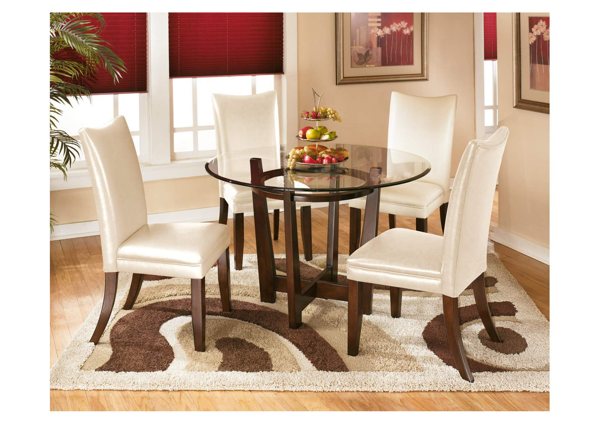 Beau Charell Round Dining Table W/4 Ivory Side Chairs
