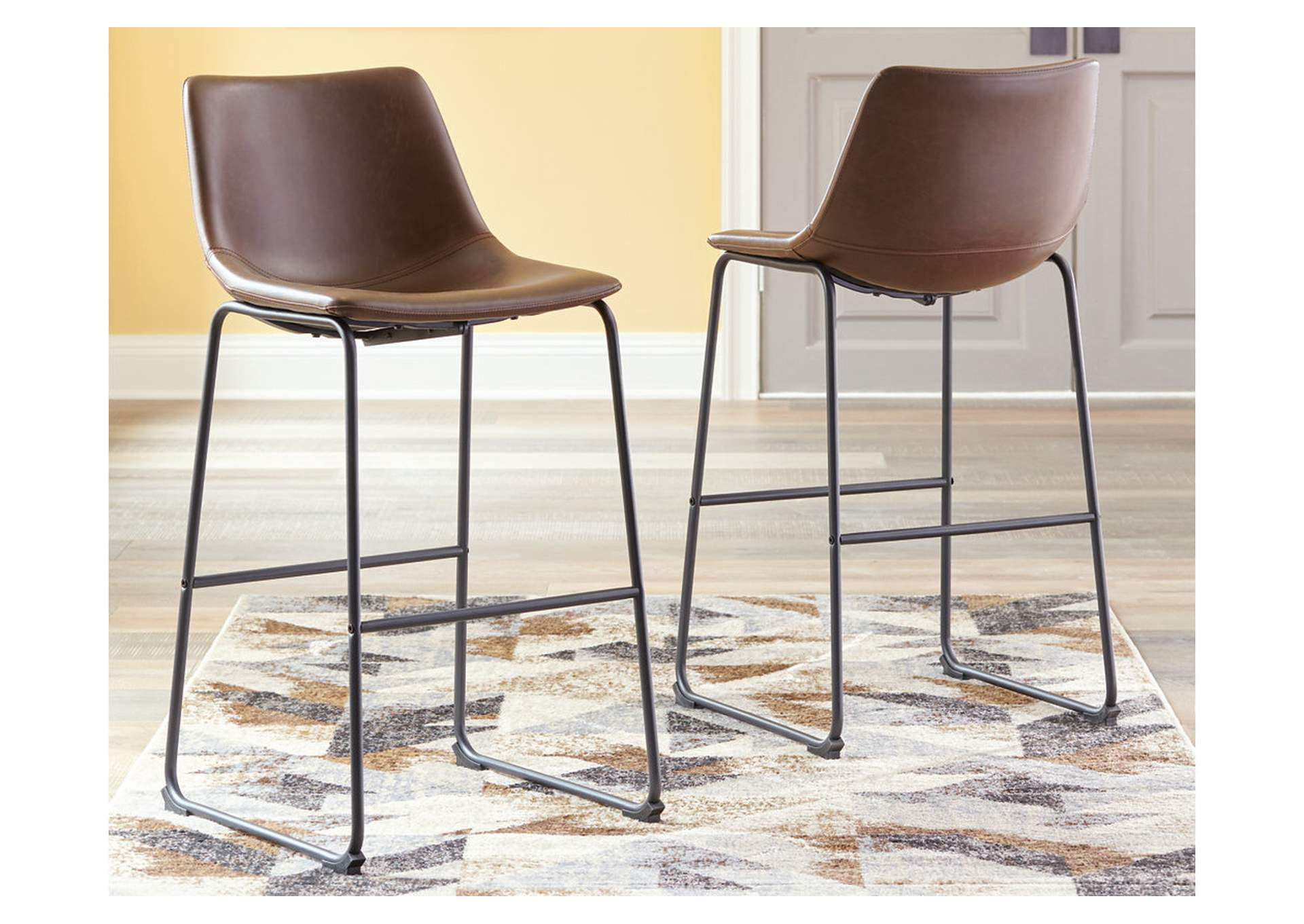 Centiar Brown Pub Height Bar Stool (Set of 2),Signature Design By Ashley