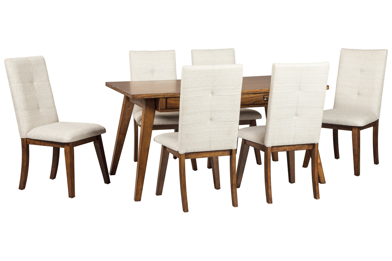 Centiar Two-Tone Brown Rectangular Dining Room Table w/6 Upholstered Side Chairs,Signature Design By Ashley