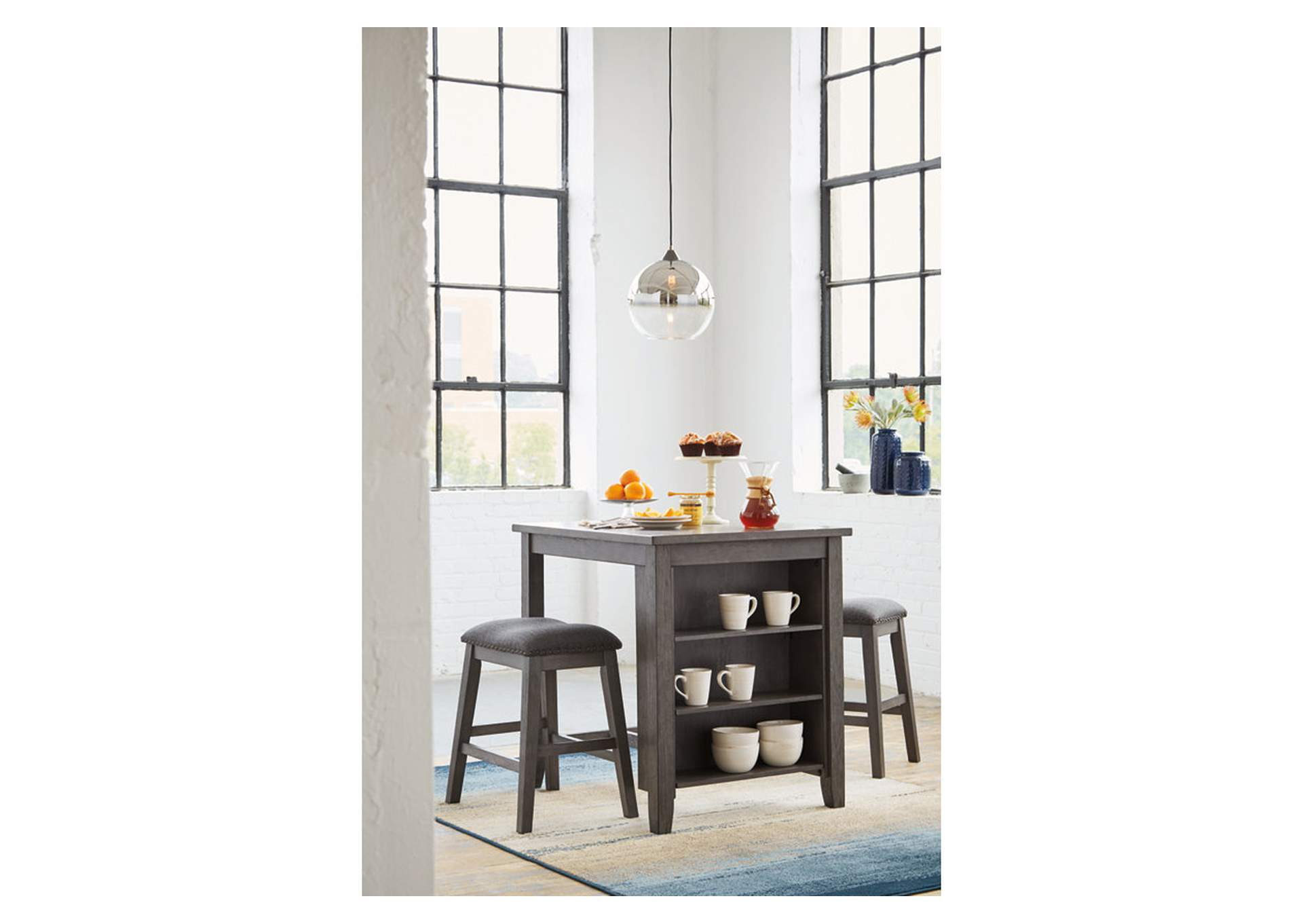 Caitbrook Gray Bar Stool (Set of 3),Direct To Consumer Express