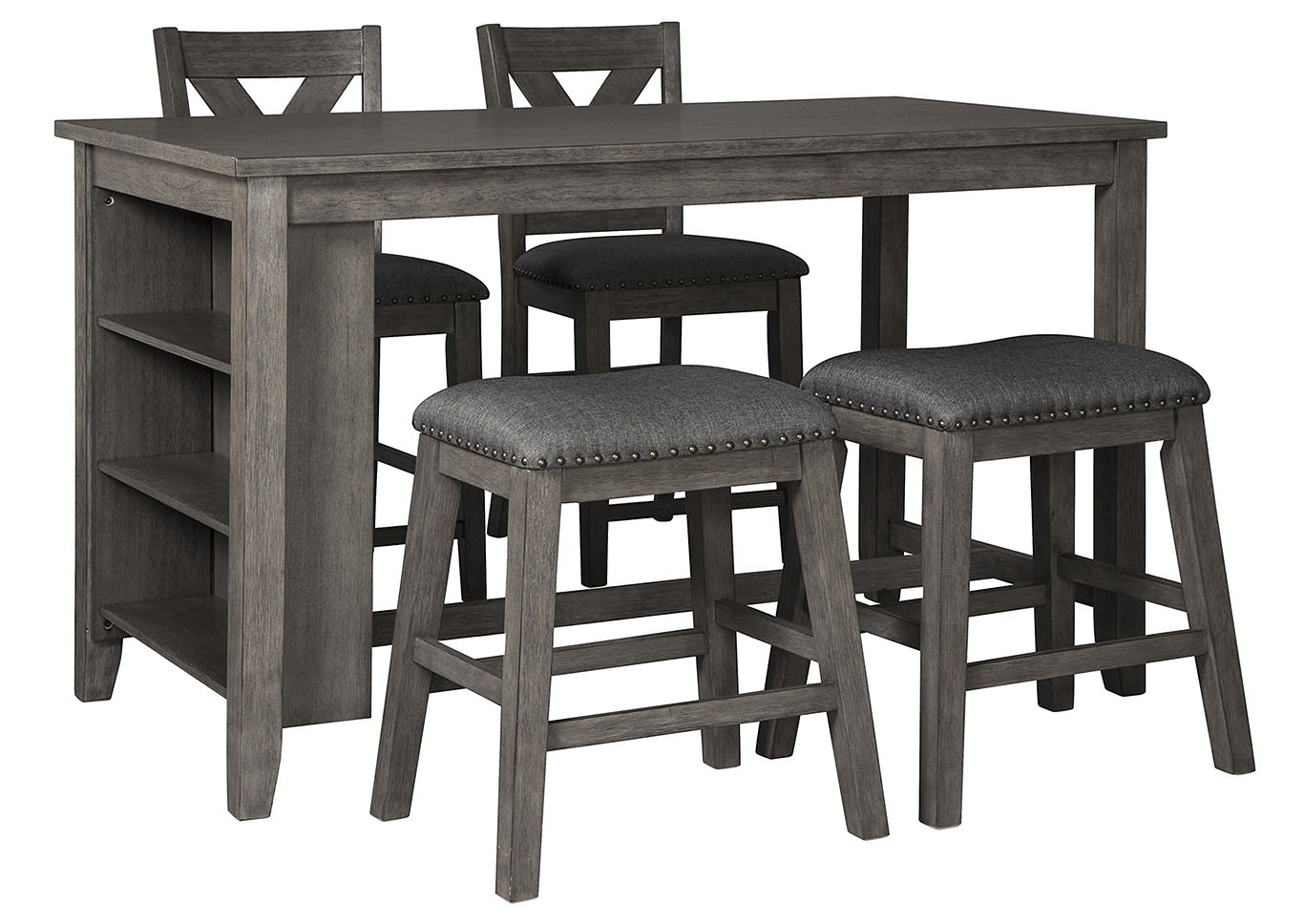 Caitbrook Dark Gray Dining Set w/2 Stools & 2 Bar Stools,Signature Design By Ashley