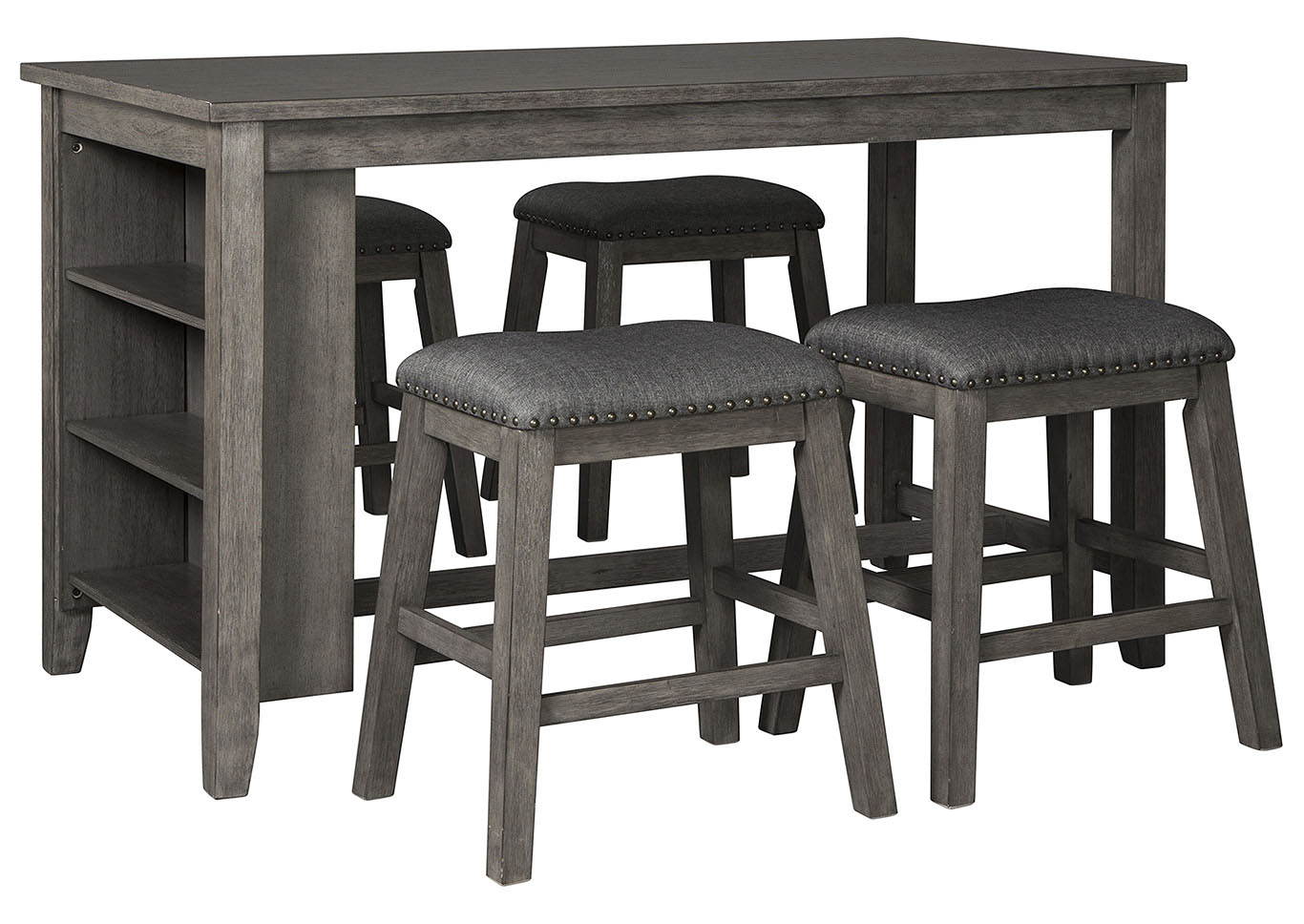 Caitbrook Dark Gray Dining Set w/4 Stools,Signature Design By Ashley