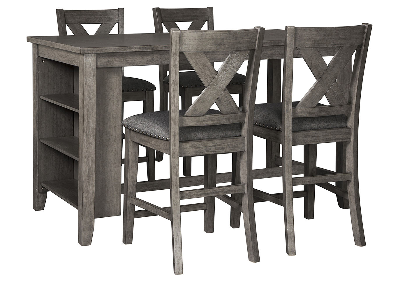 Caitbrook Dark Gray Dining Set w/4 Bar Stools,Signature Design By Ashley