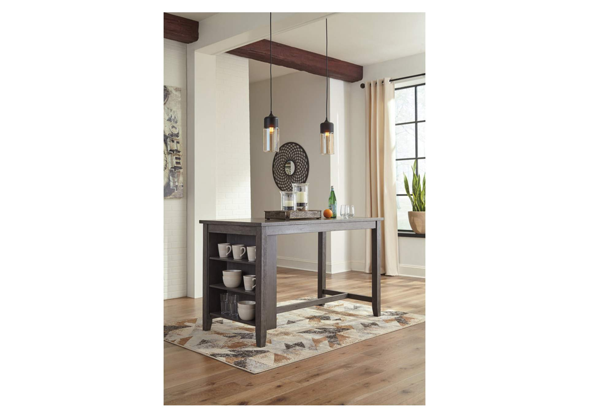Caitbrook Dark Gray Rectangular Counter Table,Signature Design By Ashley
