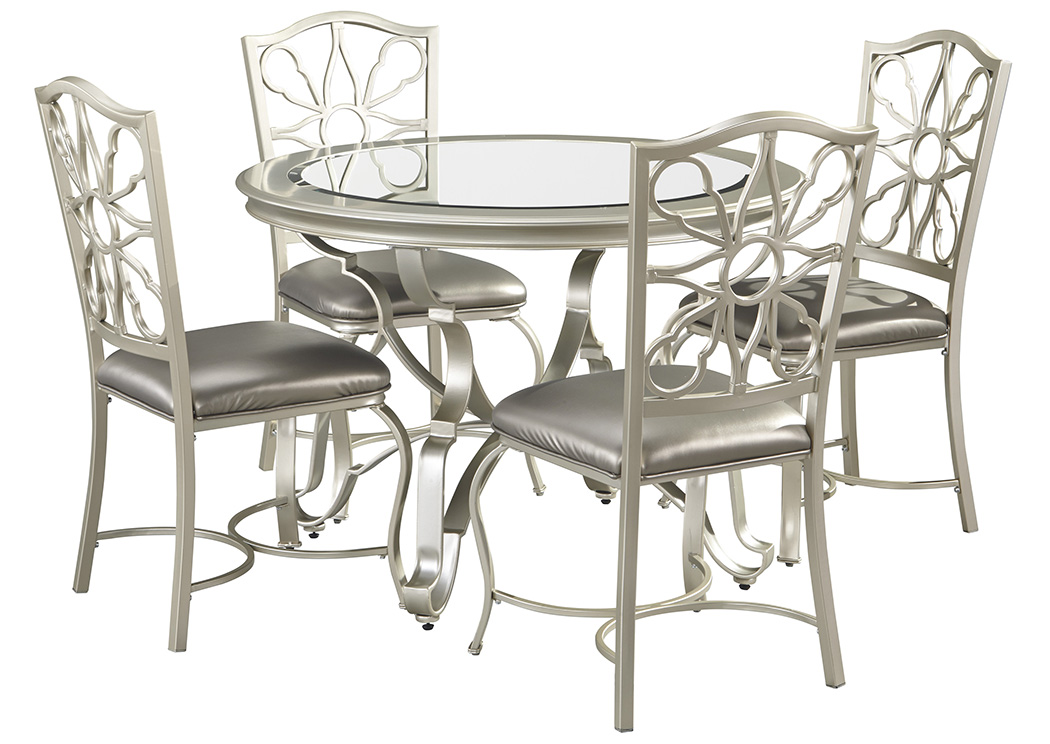 Shollyn Silver Round Dining Room Table w/4 Upholstered Side Chairs,Signature Design By Ashley