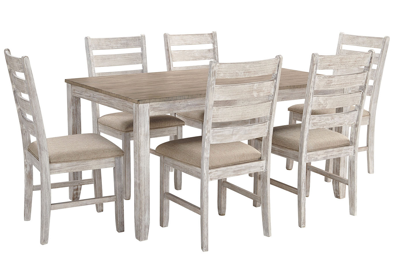 Skempton White/Light Brown 7 Piece Dining Table Set,Signature Design By Ashley