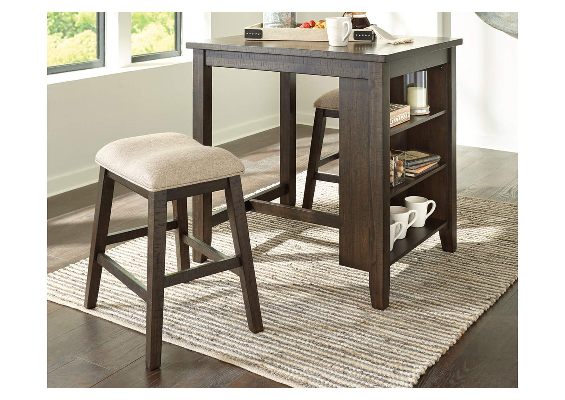 Rokane Light Brown Counter Height Dining Room Table and Bar Stools (Set of 3),Signature Design By Ashley