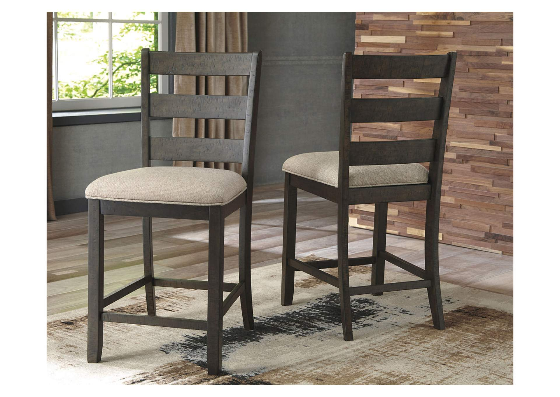 Rokane Brown Upholstered Barstool (Set of 2),Signature Design By Ashley