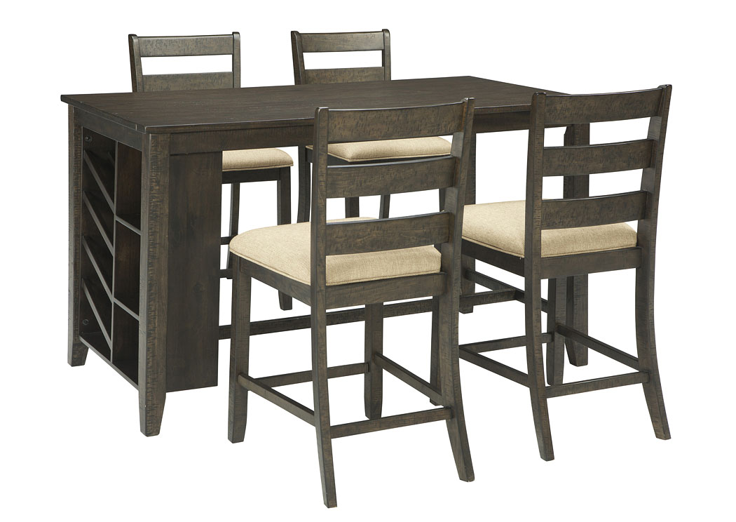 Rokane Brown Rectangular Counter Table w/Storage and 4 Upholstered Barstools,Signature Design By Ashley
