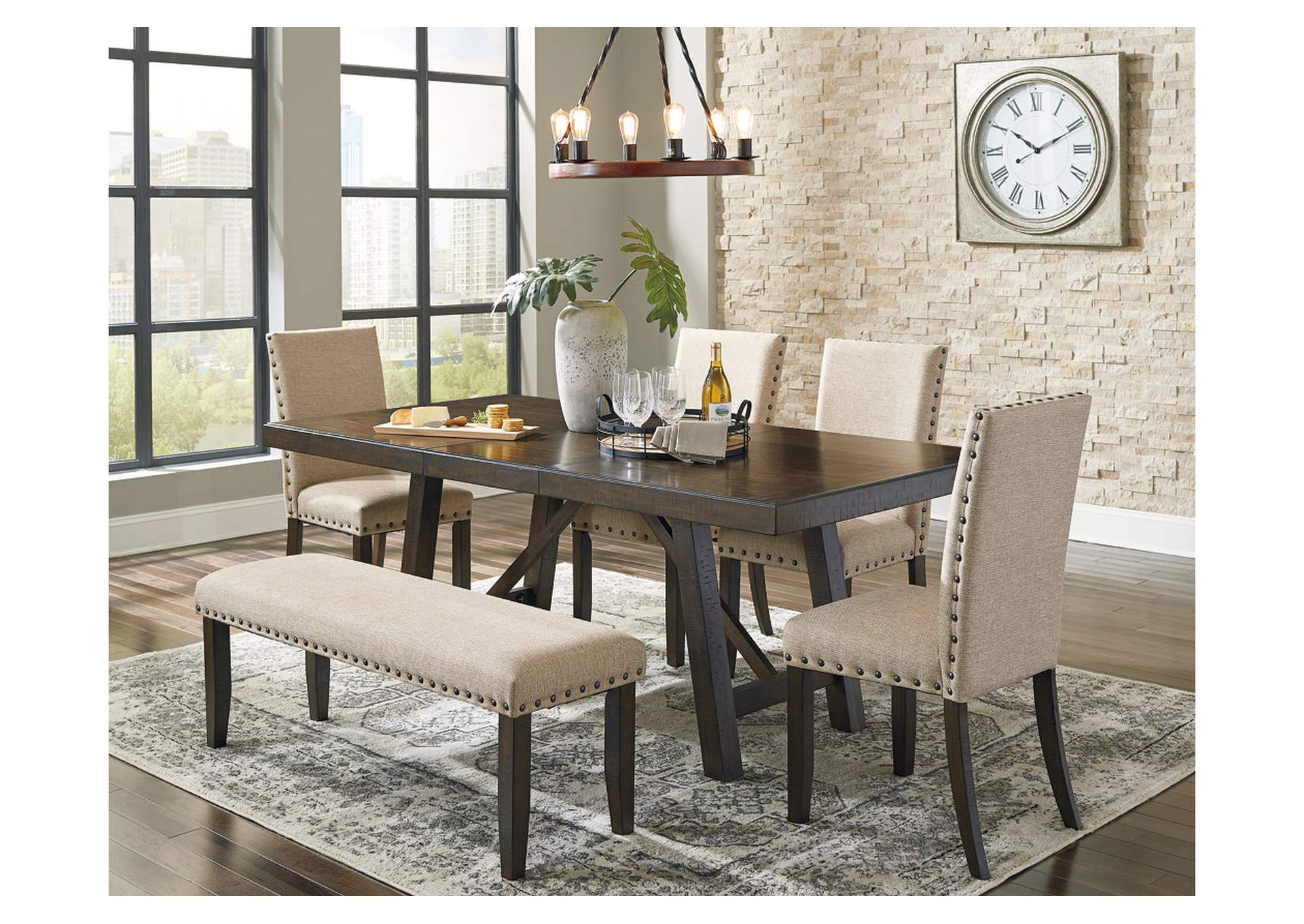 Rokane Light Brown Dining Table w/2 Side Chairs & Bench,Signature Design By Ashley