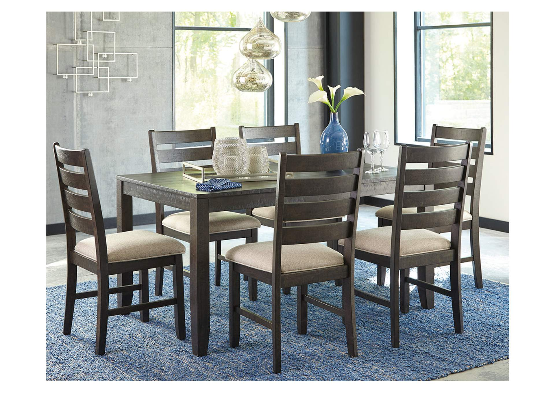 Rokane Brown 7-Piece Dining Room Table Set,Signature Design By Ashley