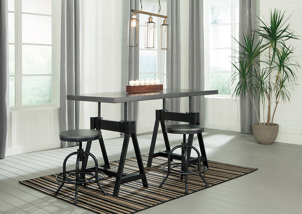 Minnona Aged Steel Rectangular DRM Adjustable Dining Table w/2 Swivel Stools,Signature Design By Ashley