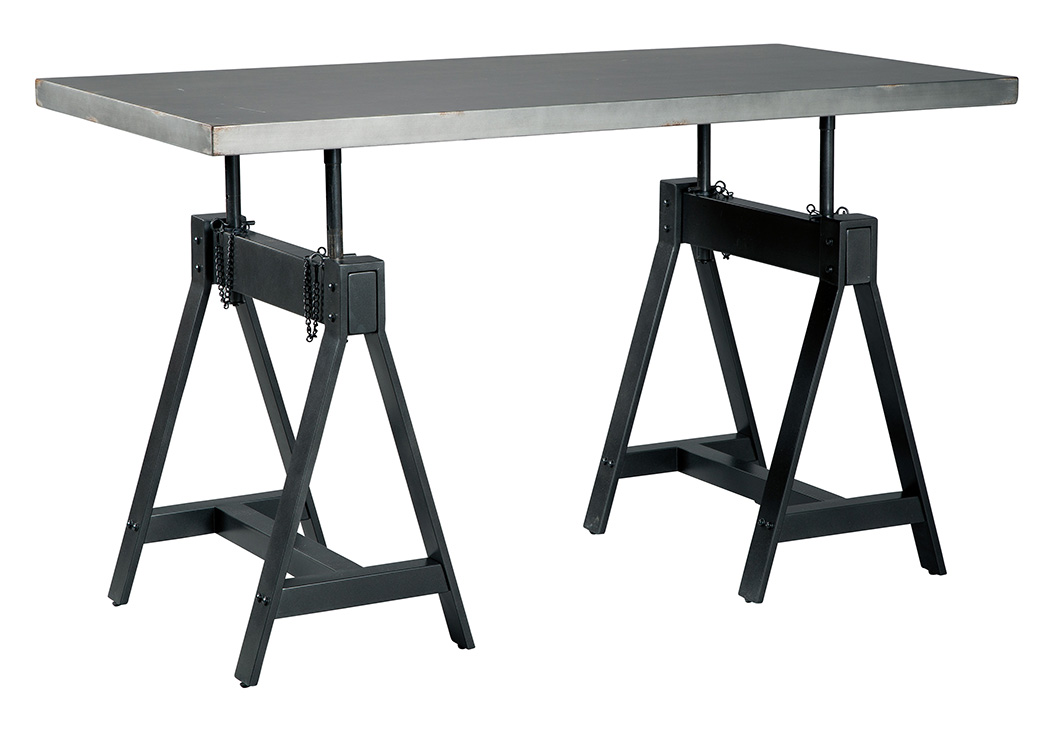 Minnona Aged Steel Rectangular Adjustable Height Dining Table,Signature Design By Ashley