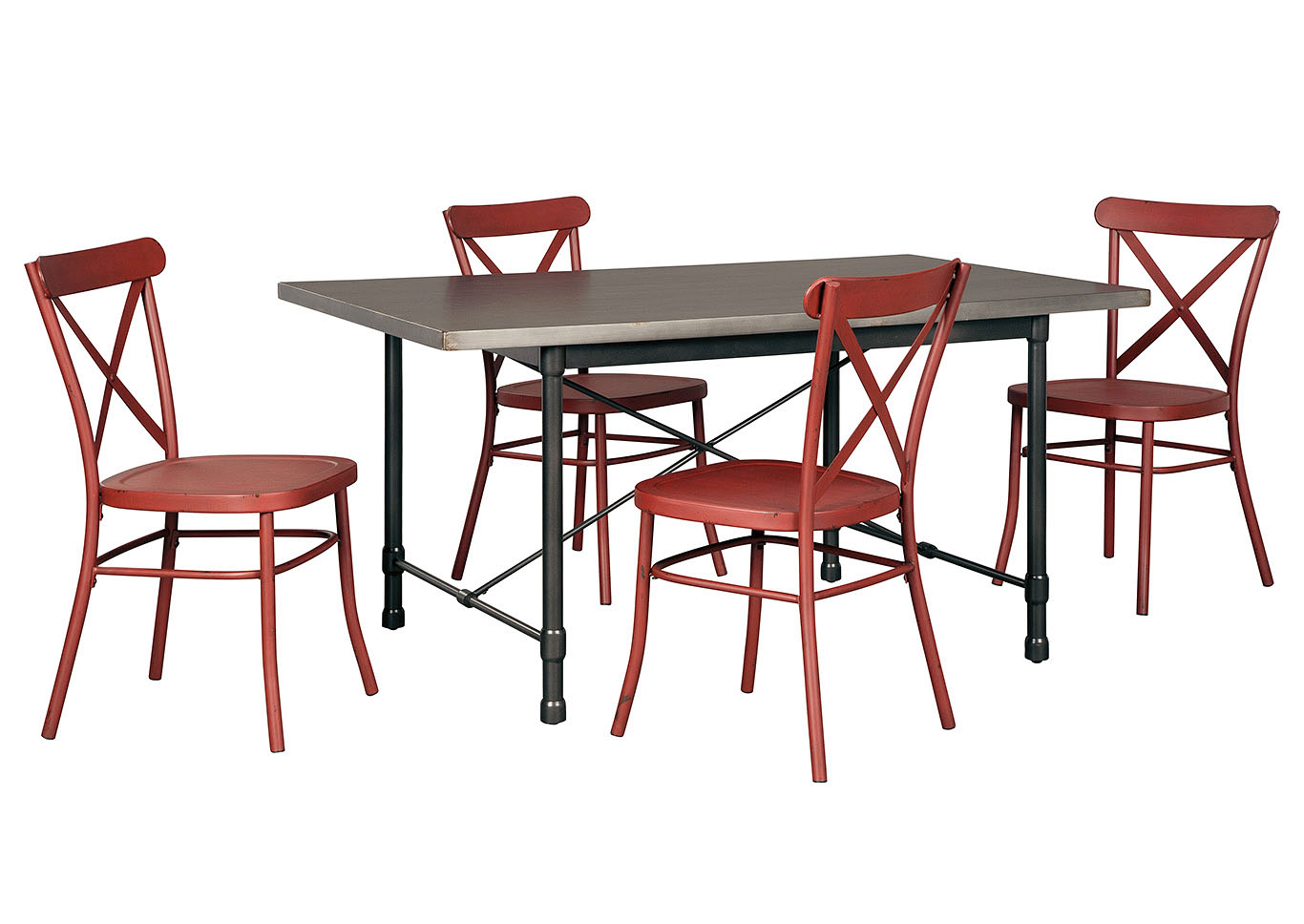 Minnona Aged Steel Rectangular Dining Table w/4 Red Side Chairs,Signature Design By Ashley