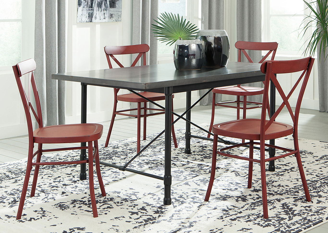 Utah Furniture Direct Minnona Aged Steel Rectangular Dining Table W 4 Red Side Chairs