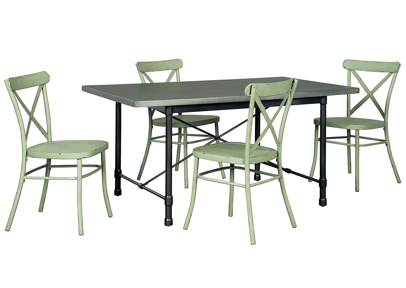 langlois furniture. Minnona Aged Steel Rectangular Dining Table W/4 Light Green Side Chairs,Signature Design Langlois Furniture