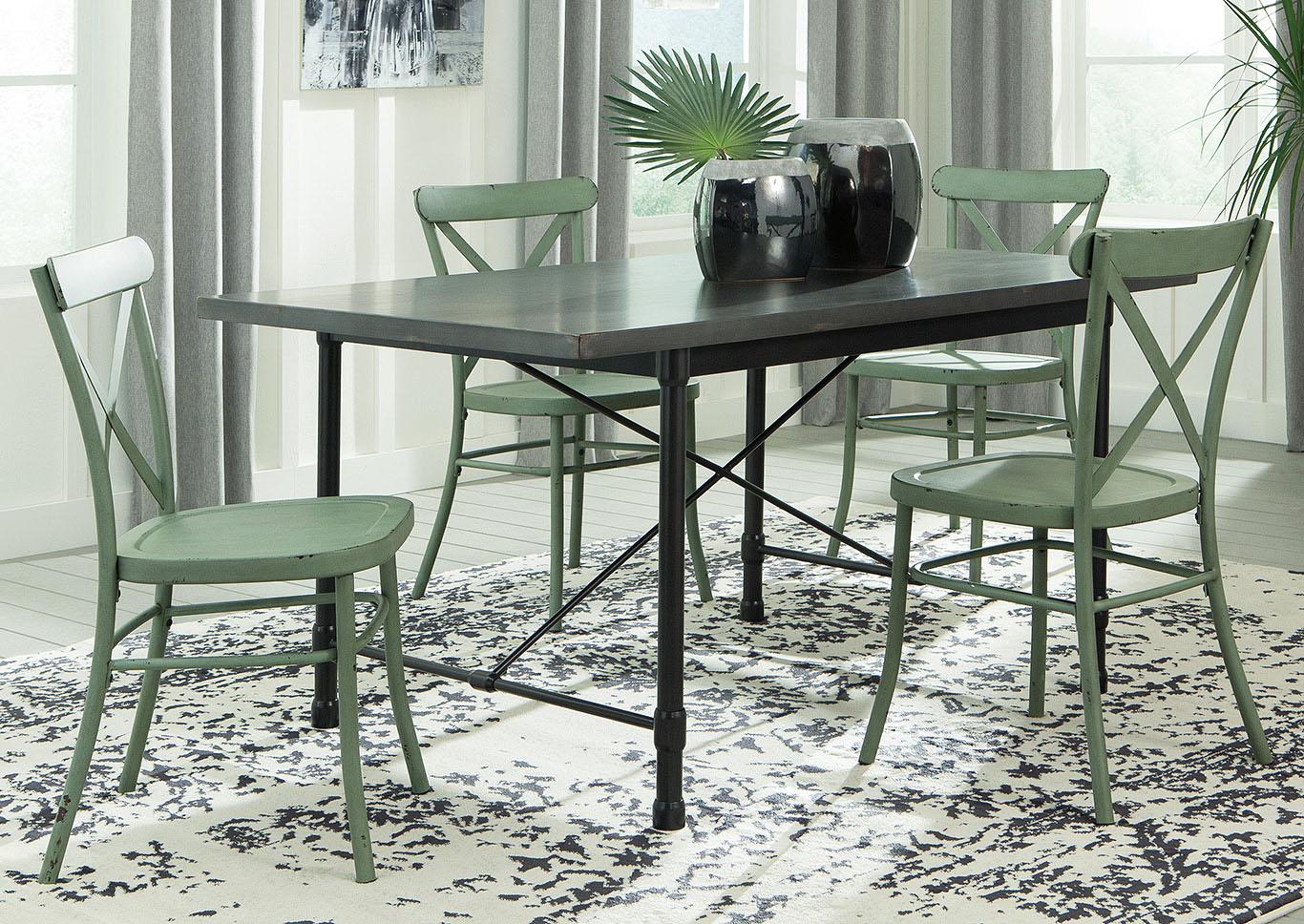 Minnona Aged Steel Rectangular Dining Table w4