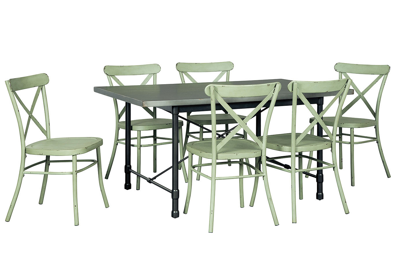 Minnona Aged Steel Rectangular Dining Table W/6 Light Green Side Chairs,Signature  Design