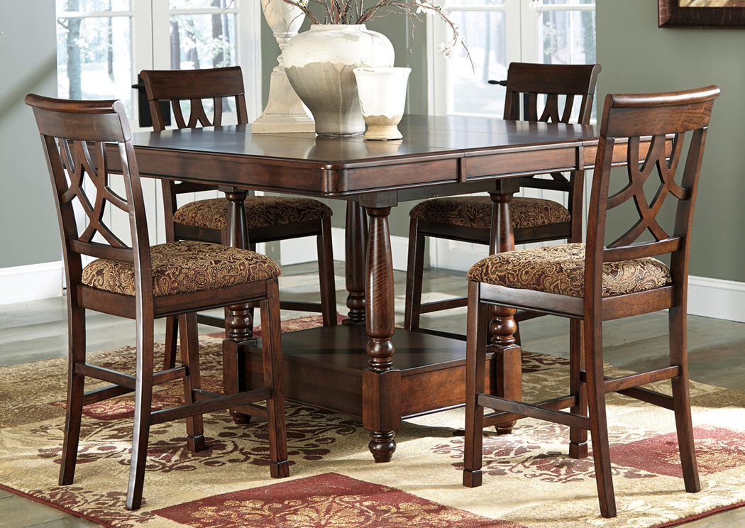 Furniture outlet chicago llc chicago il leahlyn counter height extension table w 4 barstools - Height dining room table ...