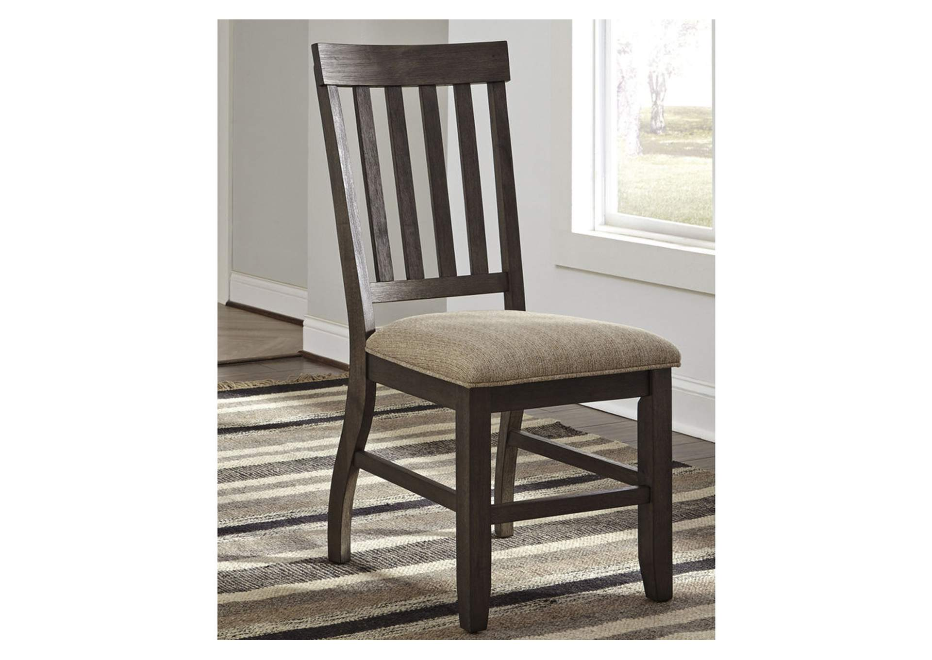 Dresbar Grayish Brown Dining Upholstered Side Chair (Set of 2),Signature Design By Ashley