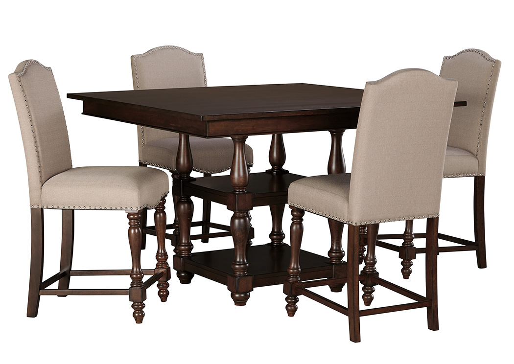 Baxenburg Brown Square Counter Height Table W 4 Upholstered Side Chairs