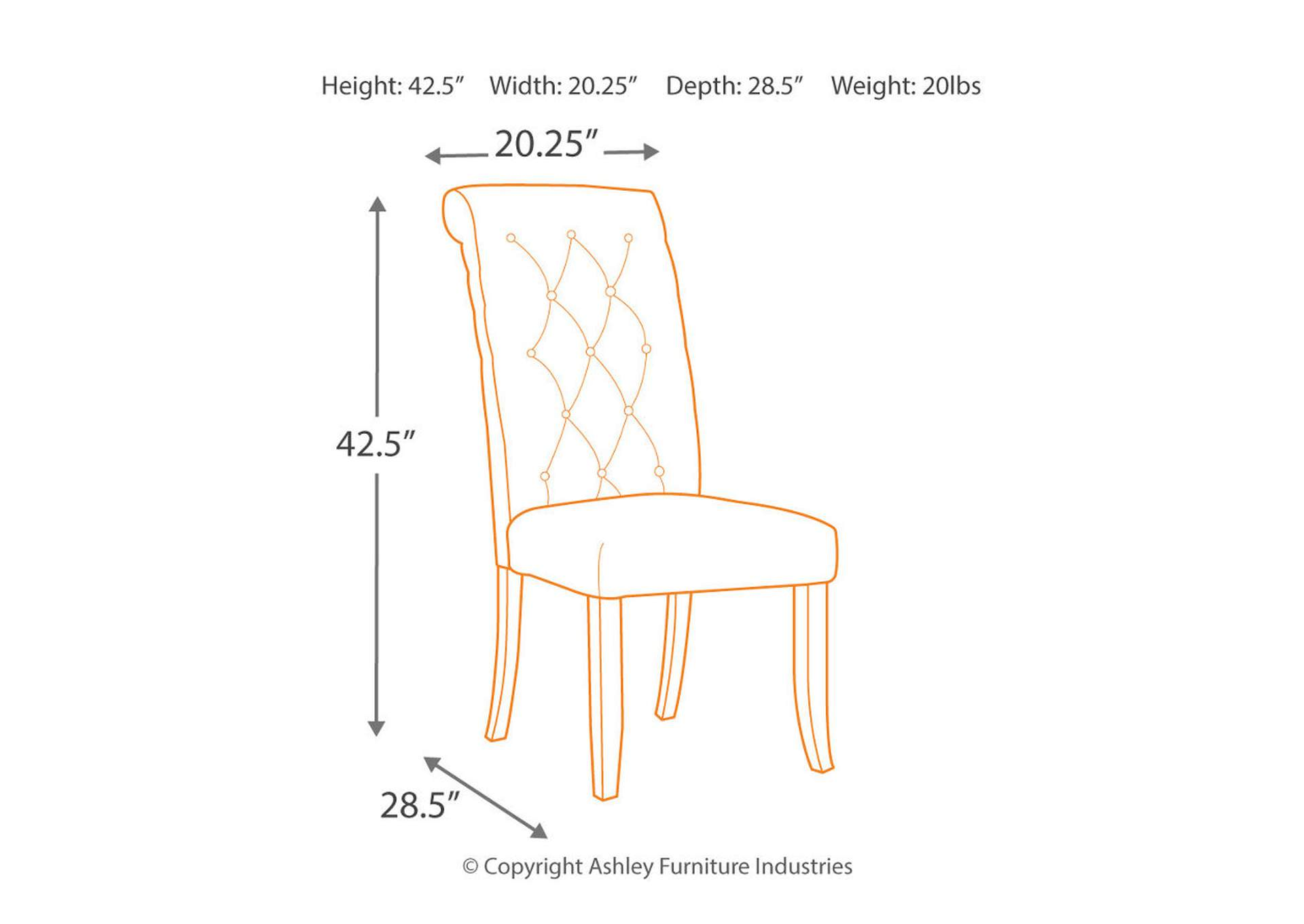 Tripton Medium Brown Dining Upholstered Side Chair Set Of