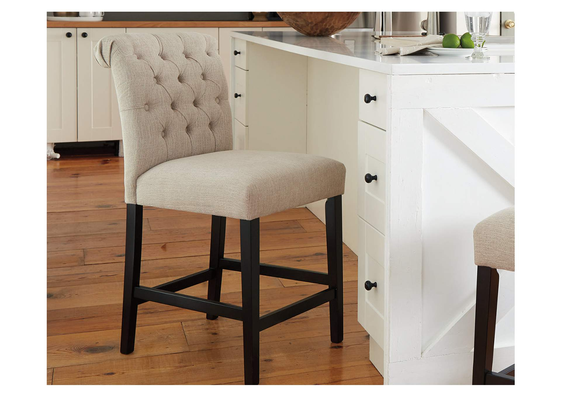 Tripton Medium Linen Upholstered Barstool (Set of 2),Signature Design By Ashley