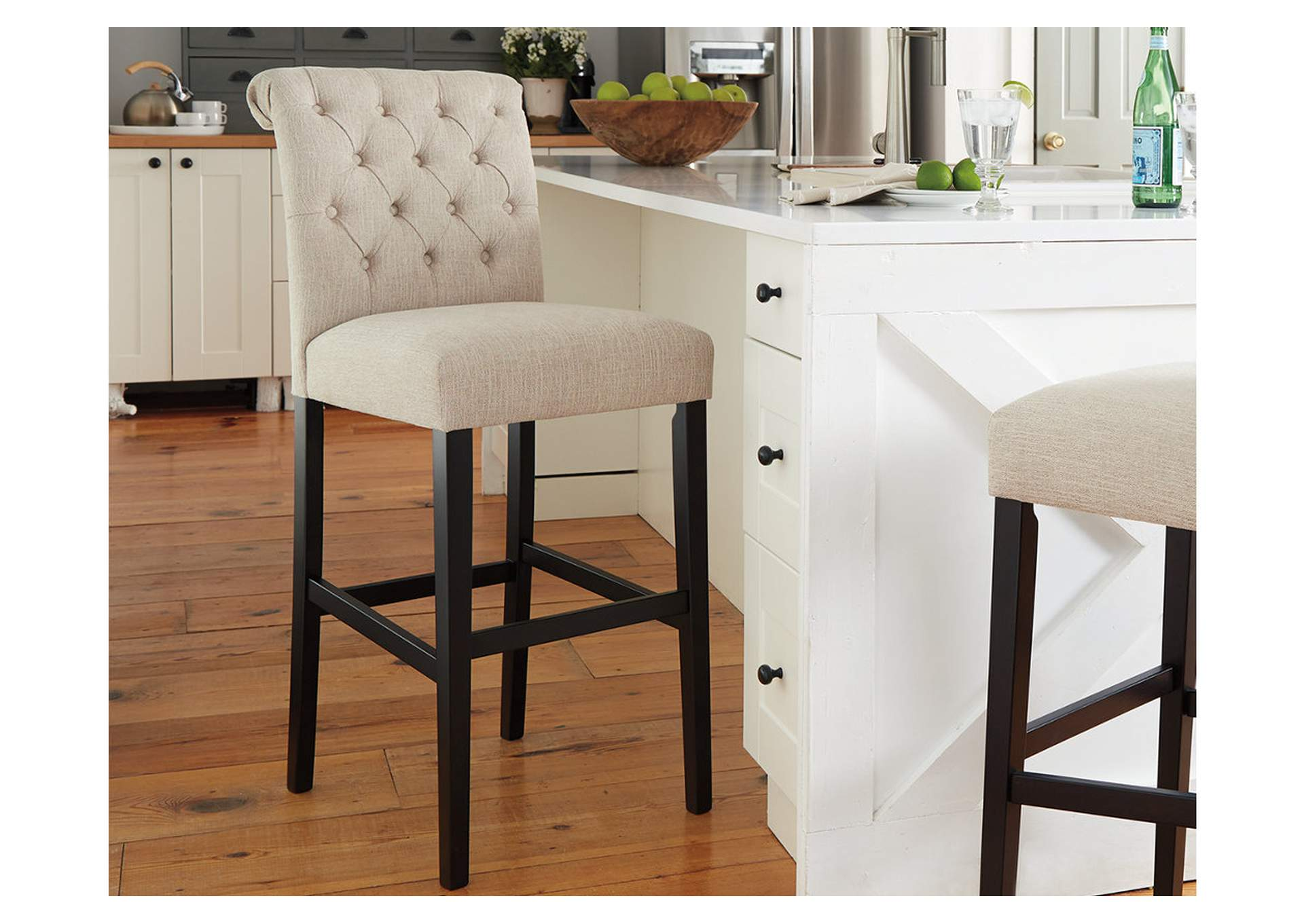 Tripton Medium Linen Tall Upholstered Barstool (Set of 2),Signature Design By Ashley