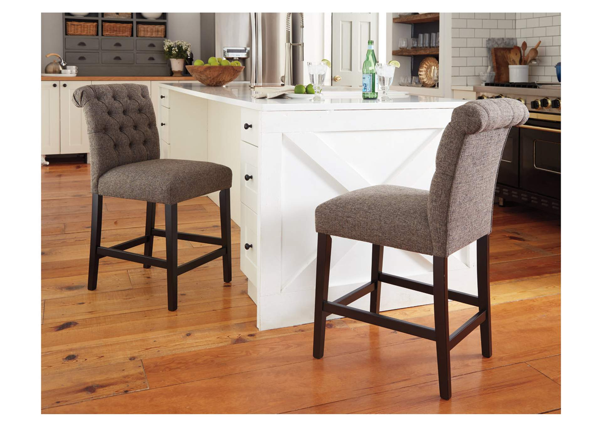 Tripton Medium Brown Upholstered Barstool (Set of 2),Signature Design By Ashley