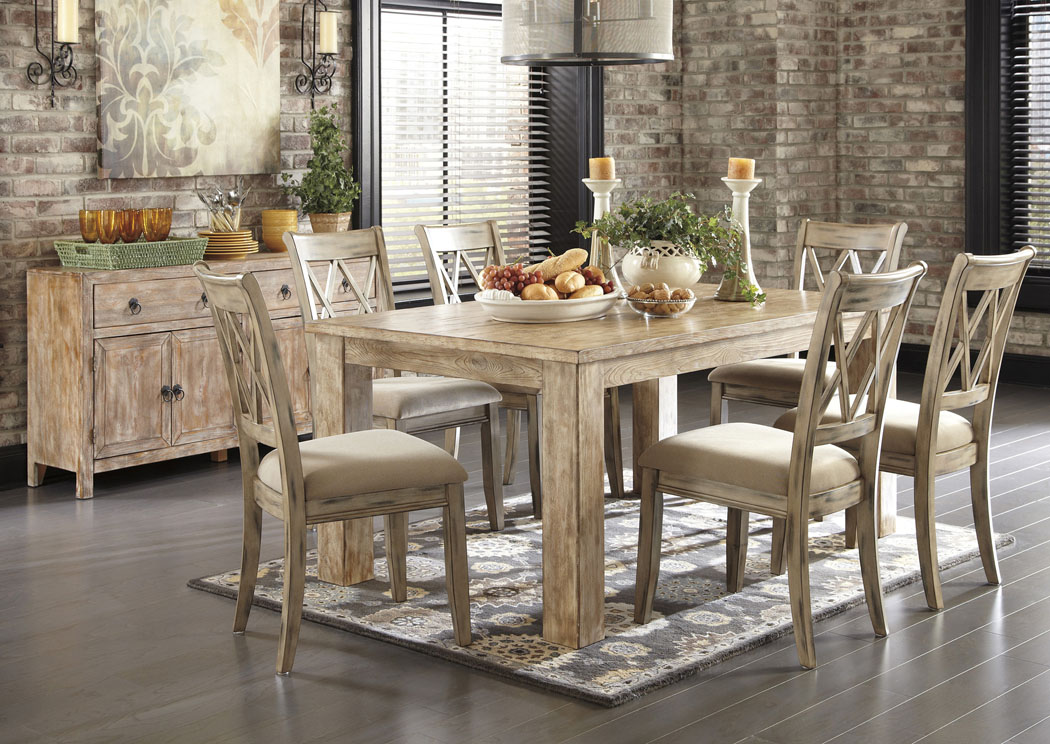 Mestler Washed Brown Rectangular Dining Table w/6 Antique White Upholstered Side ChairsSignature & V. Watts Furniture Mestler Washed Brown Rectangular Dining Table w/6 ...