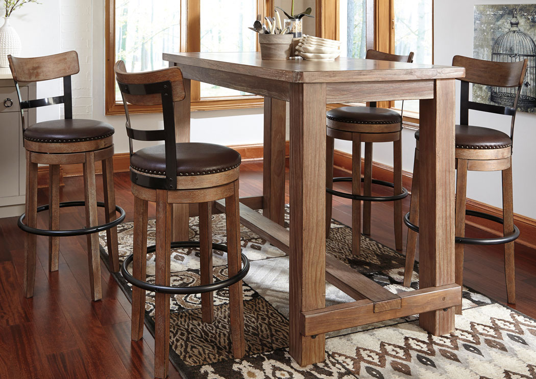 Pinnadel Bar Table w/4 Tall Upholstered Swivel Stools,Signature Design By Ashley