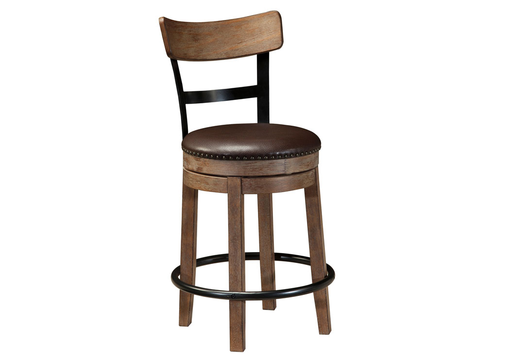 Pinnadel Light Brown Upholstered Swivel Barstool,Signature Design By Ashley